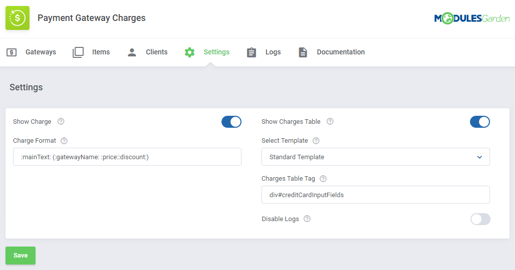 Payment Gateway Charges For WHMCS: Module Screenshot 17