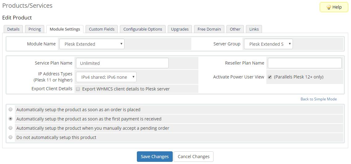 Plesk Extended For WHMCS: Screen 22