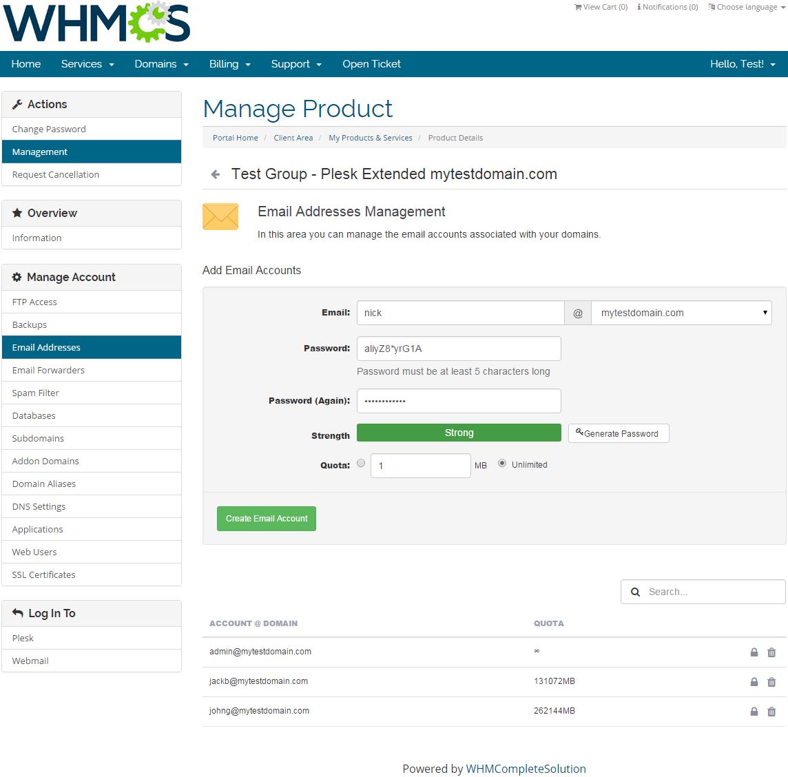 Plesk Extended For WHMCS: Screen 4