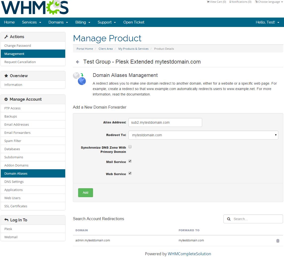 Plesk Extended For WHMCS: Screen 10