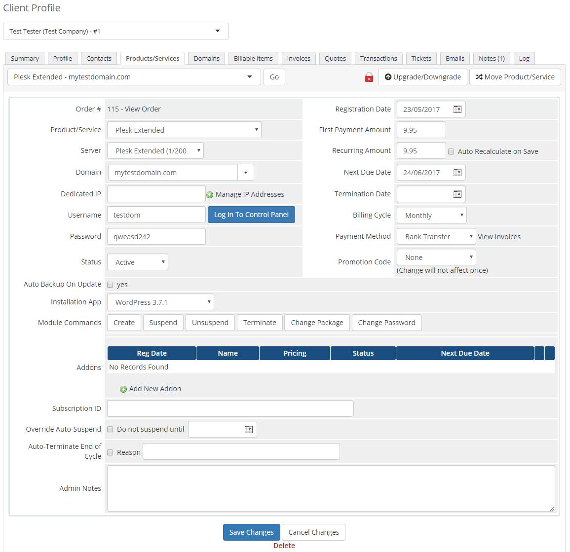 Plesk Extended For WHMCS: Module Screenshot 24