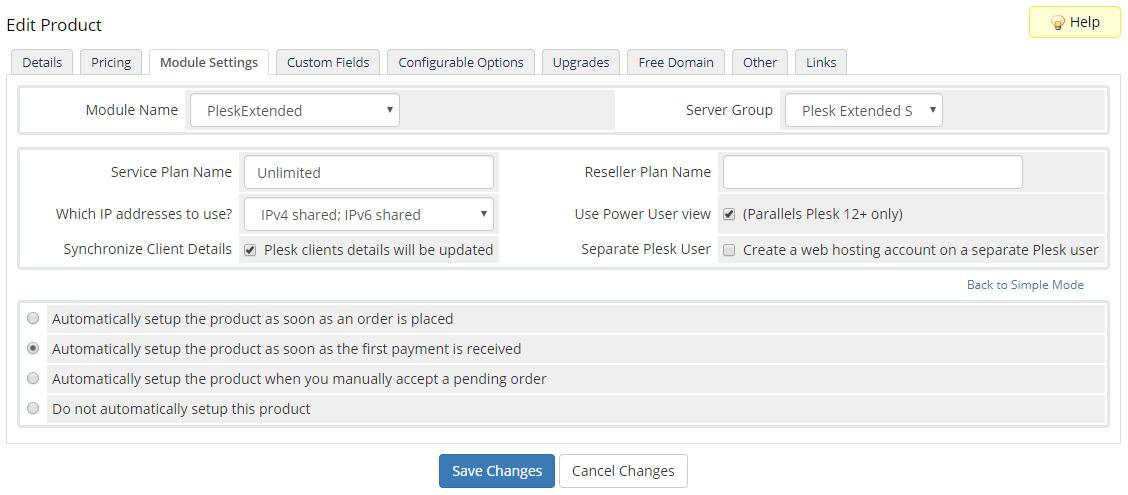 Plesk Extended For WHMCS: Module Screenshot 25