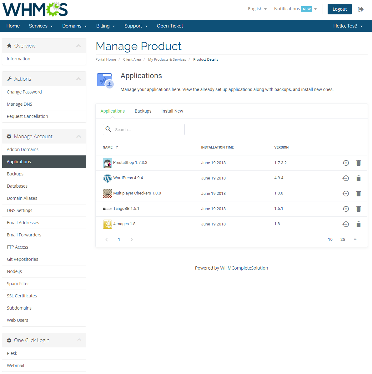 Plesk Extended For WHMCS: Module Screenshot 3