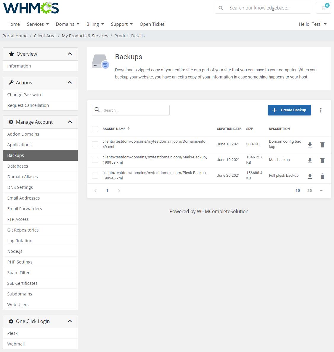 Plesk Extended For WHMCS: Module Screenshot 5