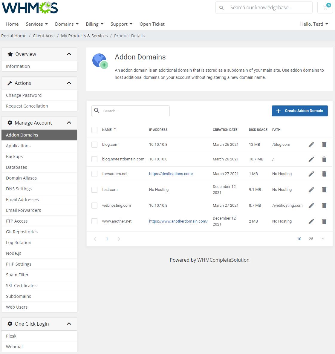 Plesk Extended For WHMCS: Module Screenshot 2