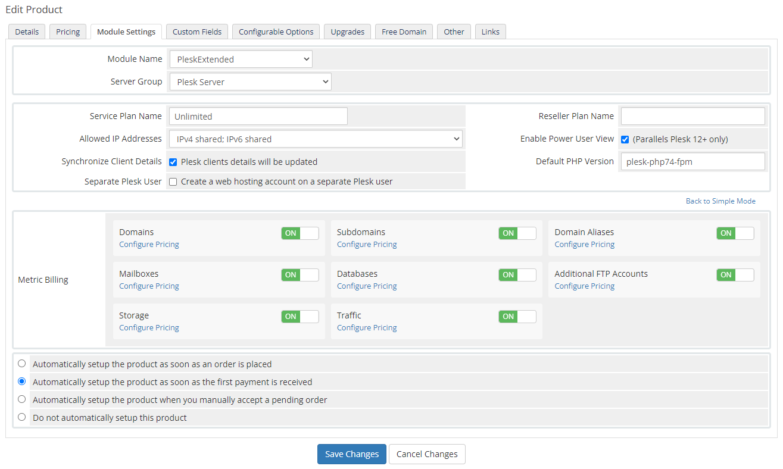 Plesk Extended For WHMCS: Module Screenshot 33