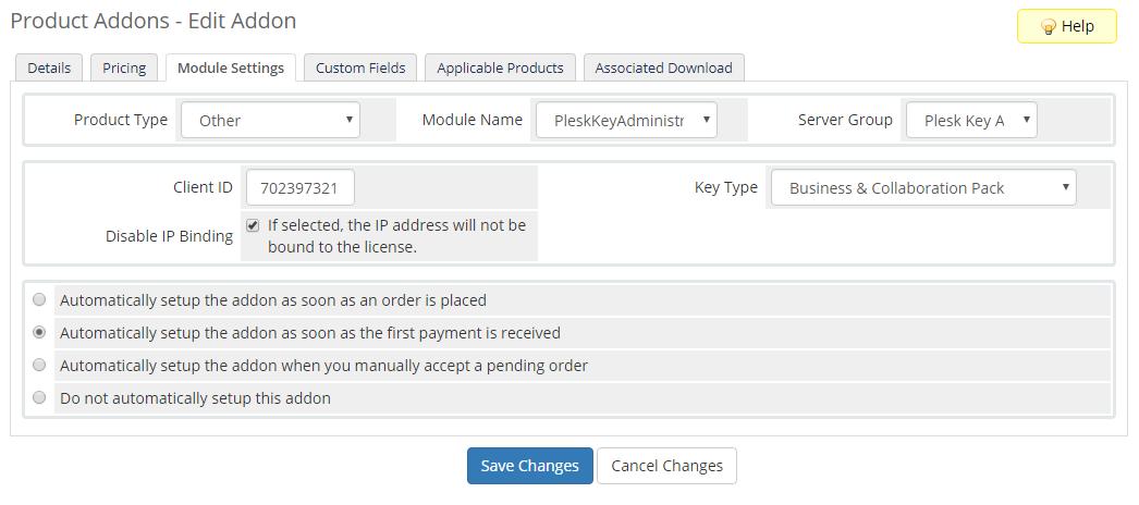 Plesk Key Administrator For WHMCS: Screen 7