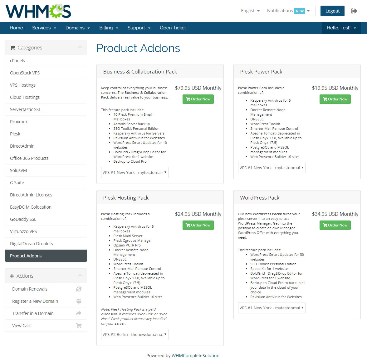 Plesk Key Administrator For WHMCS: Module Screenshot 3