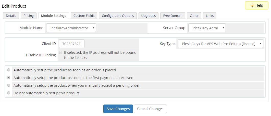 Plesk Key Administrator For WHMCS: Module Screenshot 6