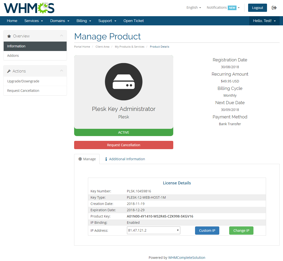 Plesk Key Administrator For WHMCS: Module Screenshot 1