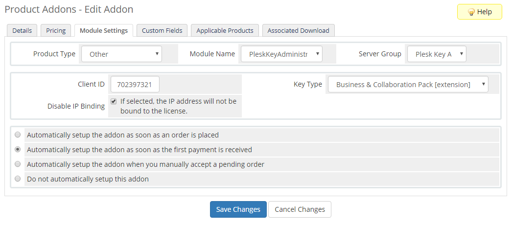 Plesk Key Administrator For WHMCS: Module Screenshot 7