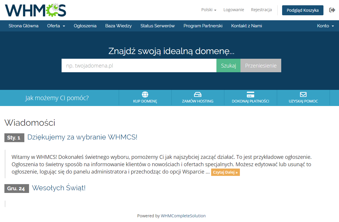Polish Language Translation For WHMCS: Module Screenshot 1