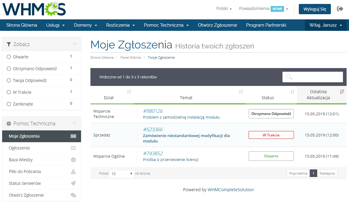 Polish Language Translation For WHMCS: Module Screenshot 12