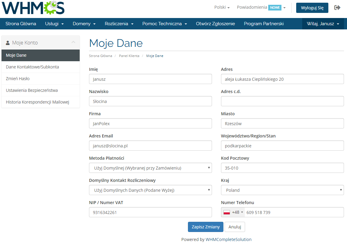 Polish Language Translation For WHMCS: Module Screenshot 15