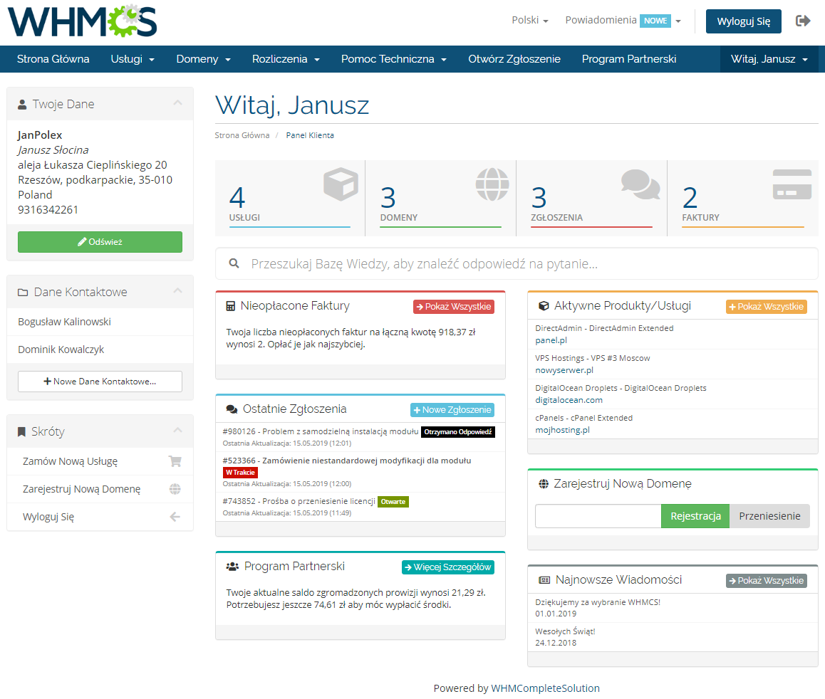 Polish Language Translation For WHMCS: Module Screenshot 2