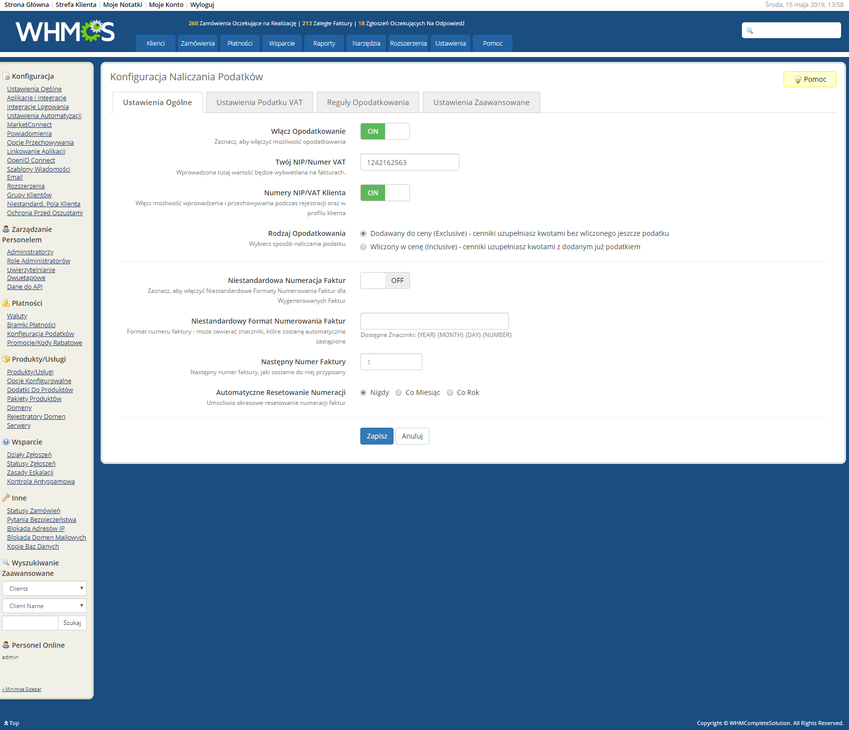 Polish Language Translation For WHMCS: Module Screenshot 27