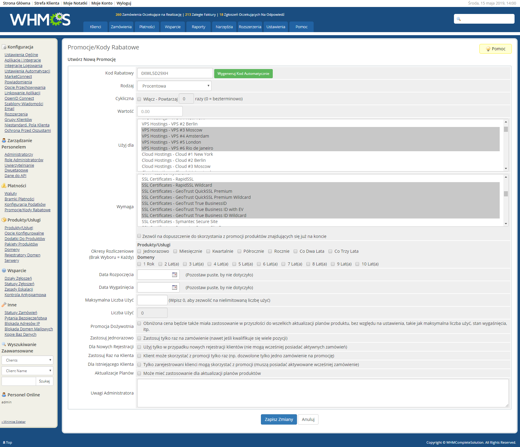 Polish Language Translation For WHMCS: Module Screenshot 28