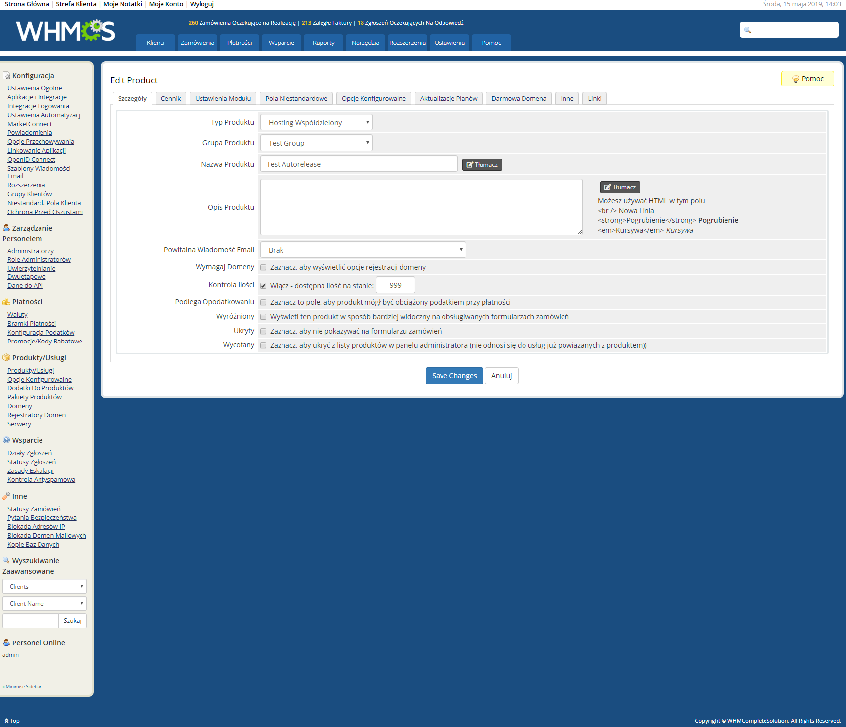 Polish Language Translation For WHMCS: Module Screenshot 29