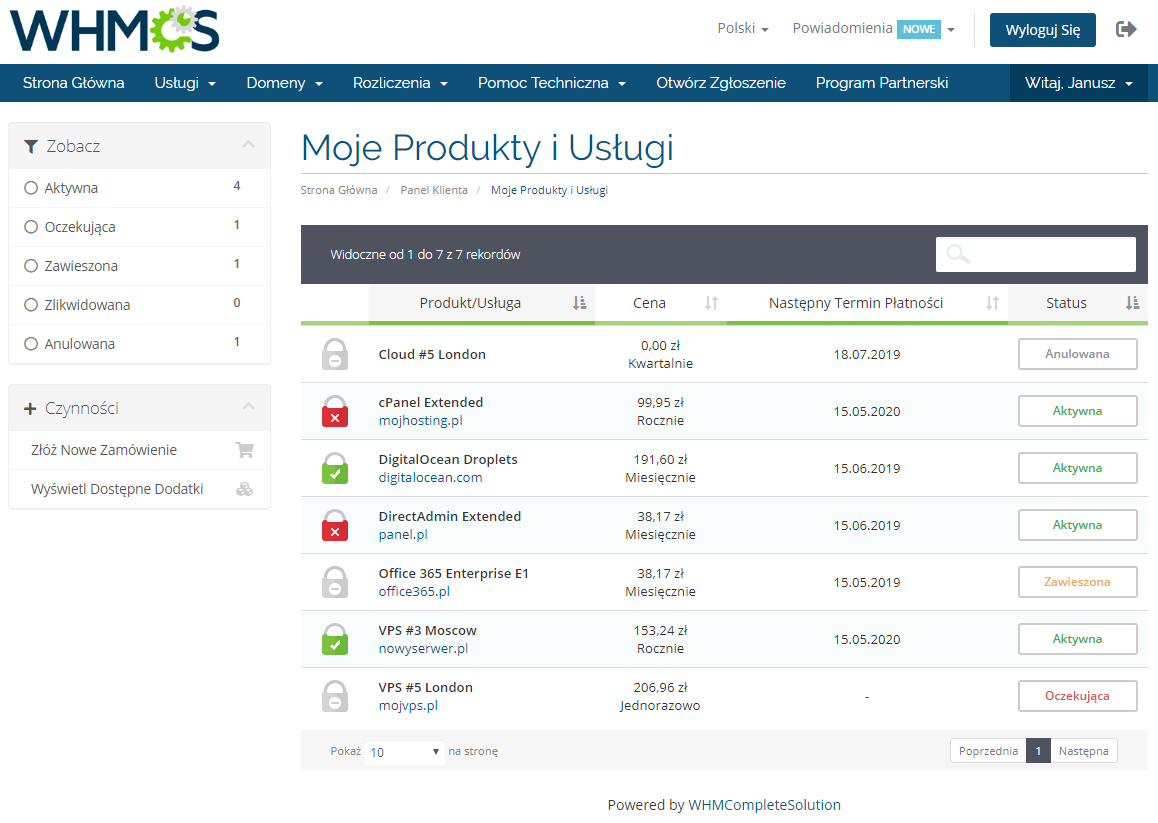 Polish Language Translation For WHMCS: Module Screenshot 3
