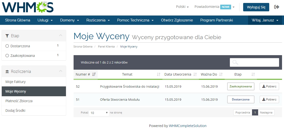 Polish Language Translation For WHMCS: Module Screenshot 7