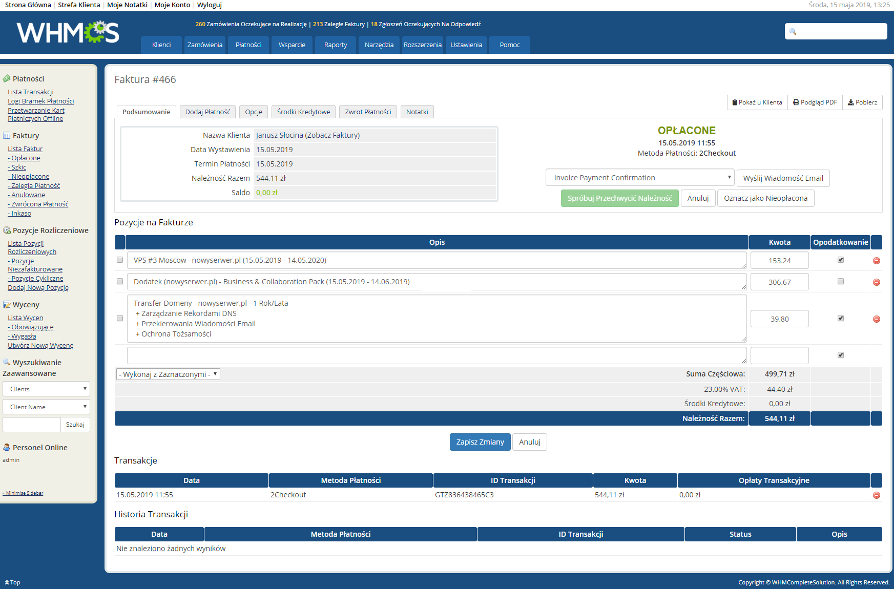 Polish Language Translation For WHMCS: Module Screenshot 22