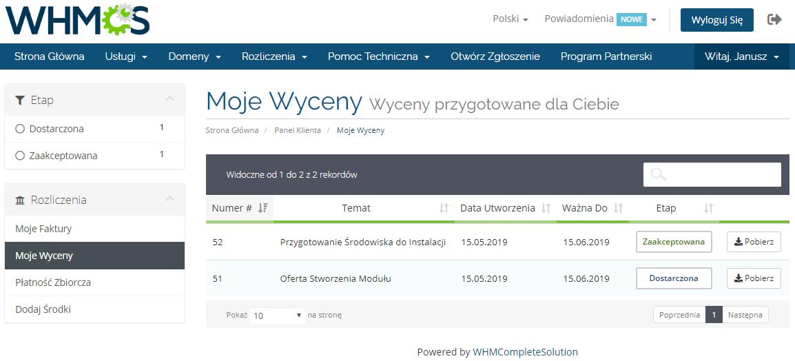 Polish Language Translation For WHMCS: Module Screenshot 7