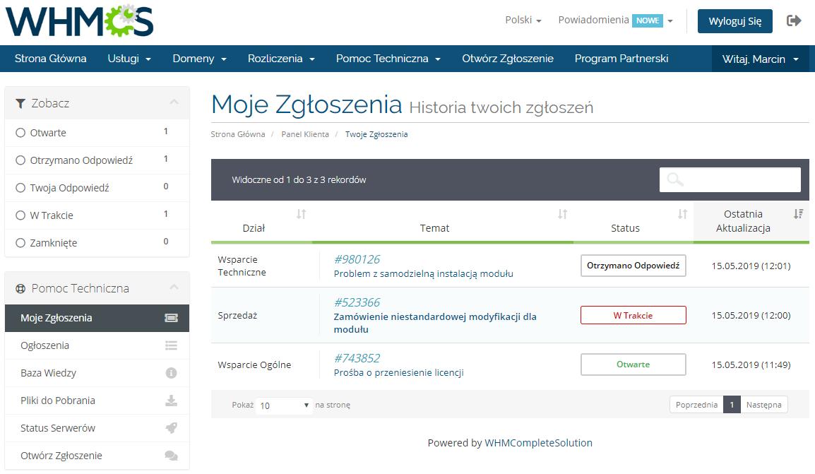 Polish Language Translation For WHMCS: Module Screenshot 12