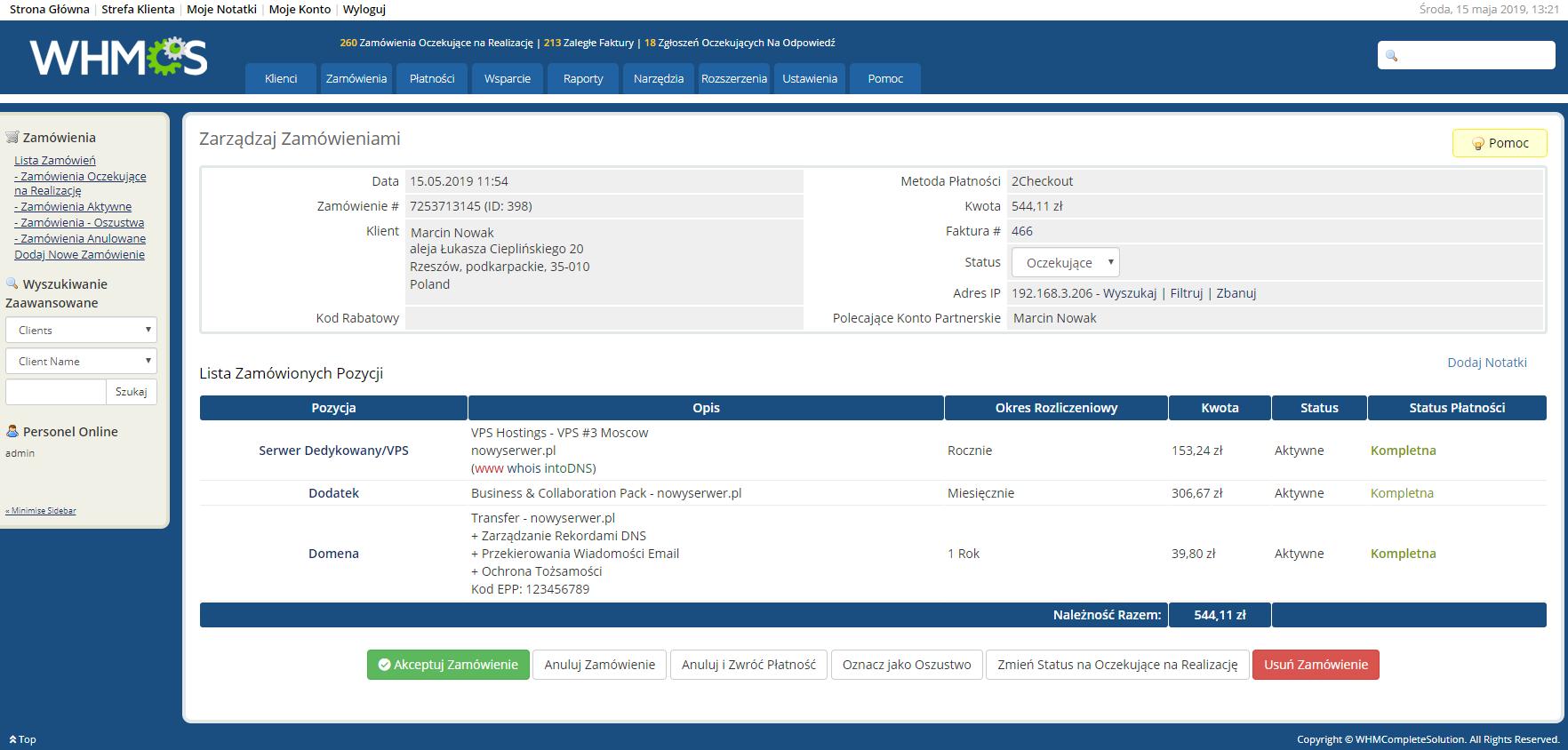Polish Language Translation For WHMCS: Module Screenshot 21