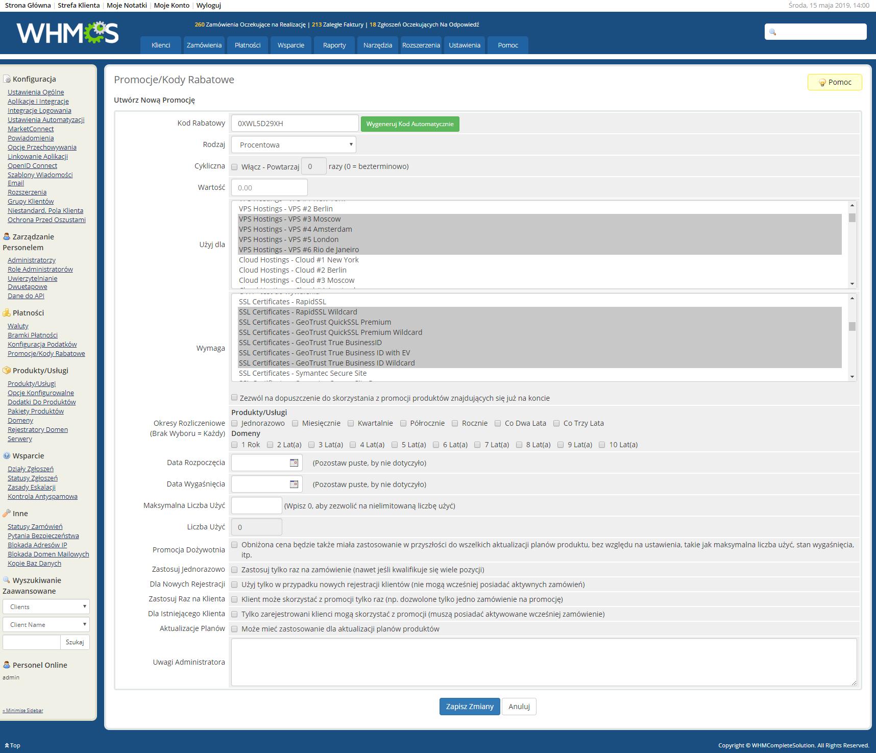 Polish Language Translation For WHMCS: Module Screenshot 32