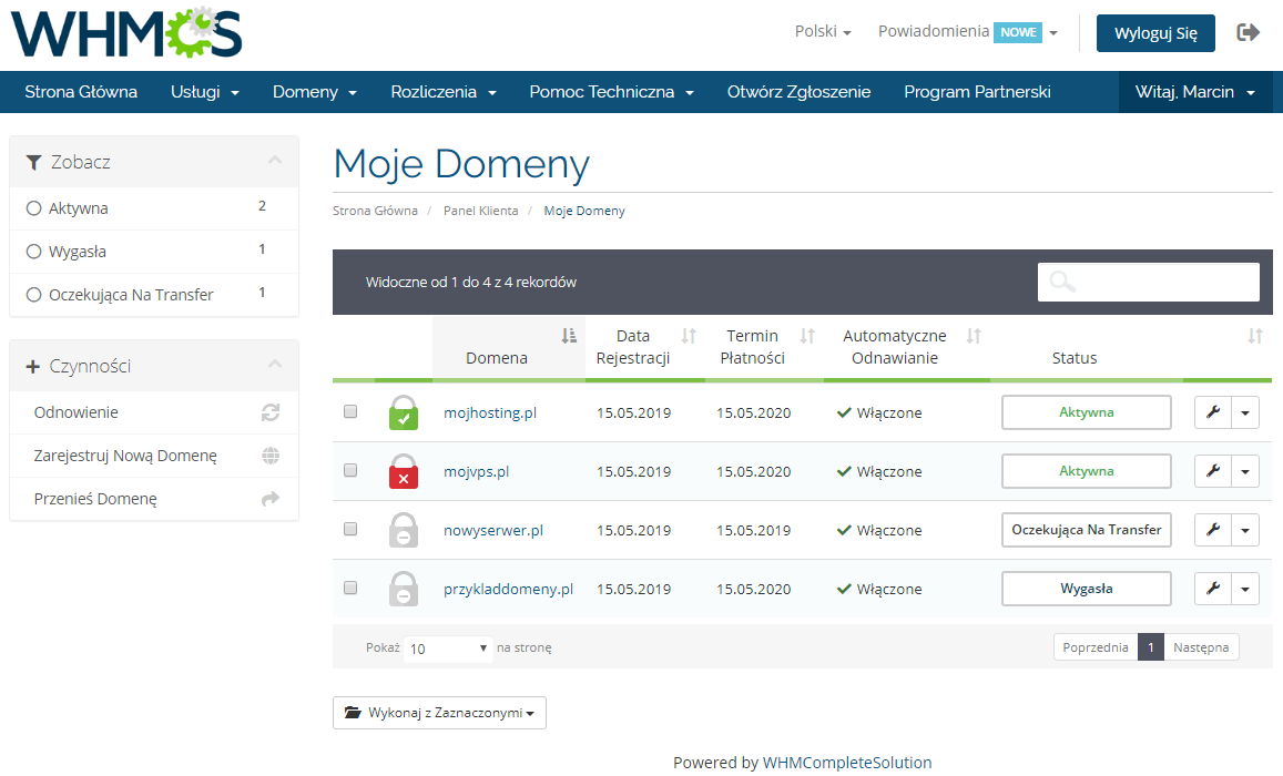 Polish Language Translation For WHMCS: Module Screenshot 5