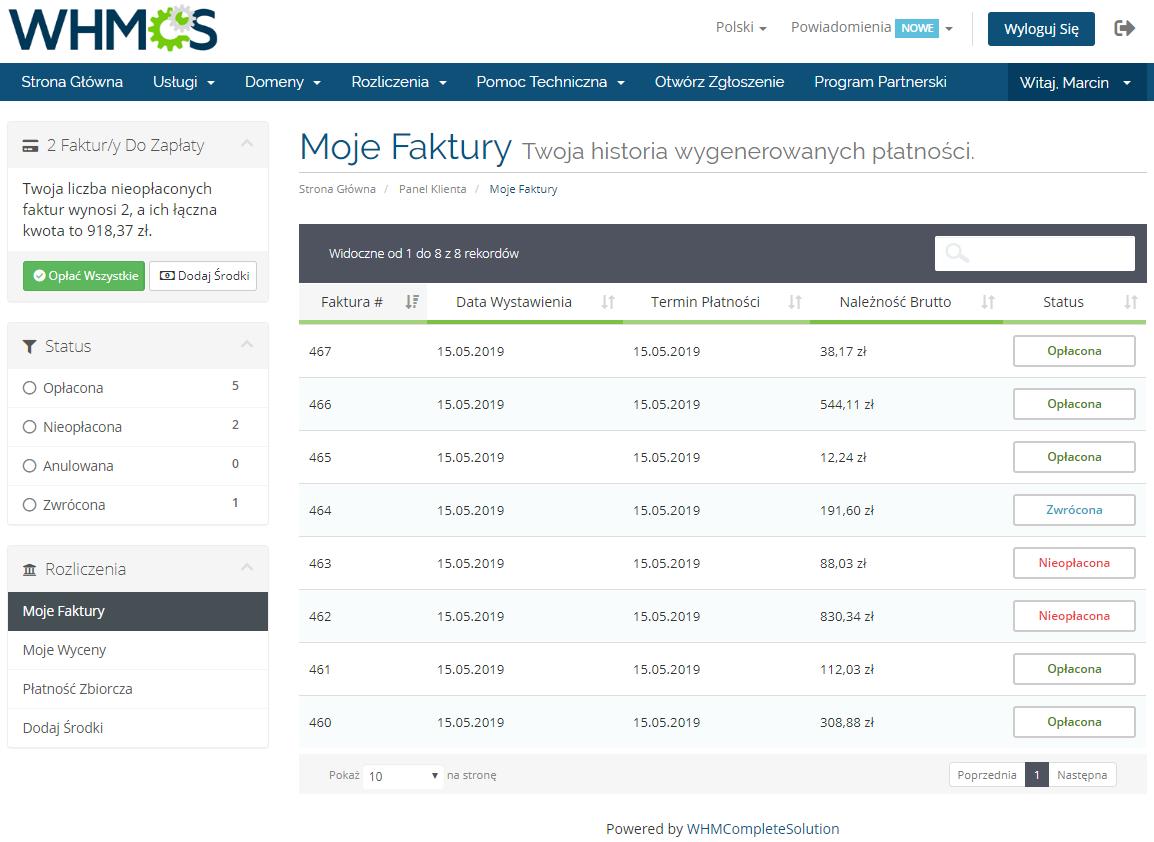 Polish Language Translation For WHMCS: Module Screenshot 6