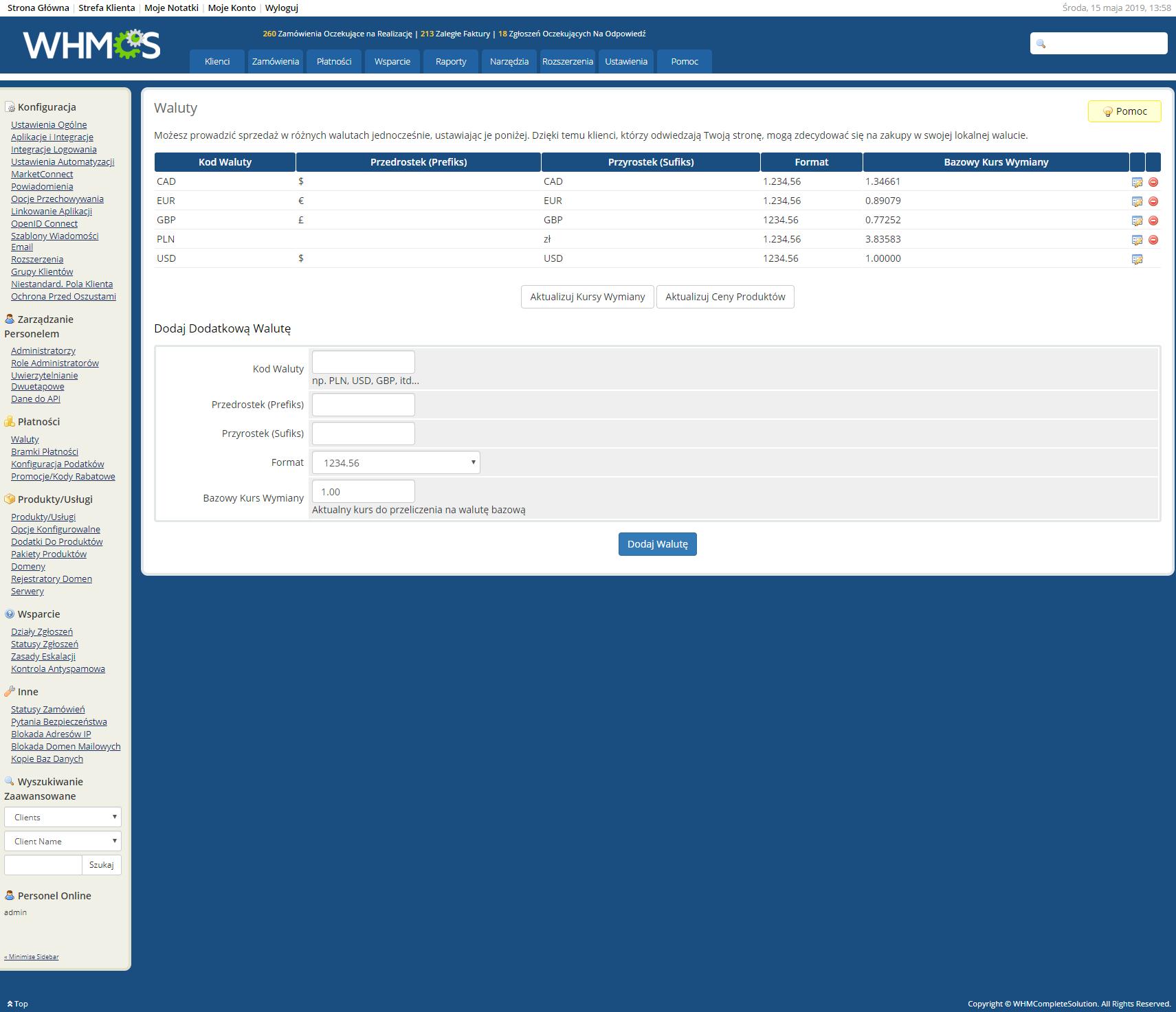 Polish Language Translation For WHMCS: Module Screenshot 30