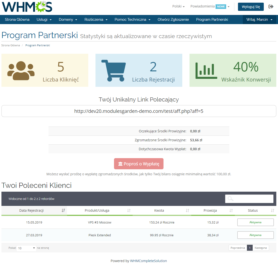 Polish Language Translation For WHMCS: Module Screenshot 14