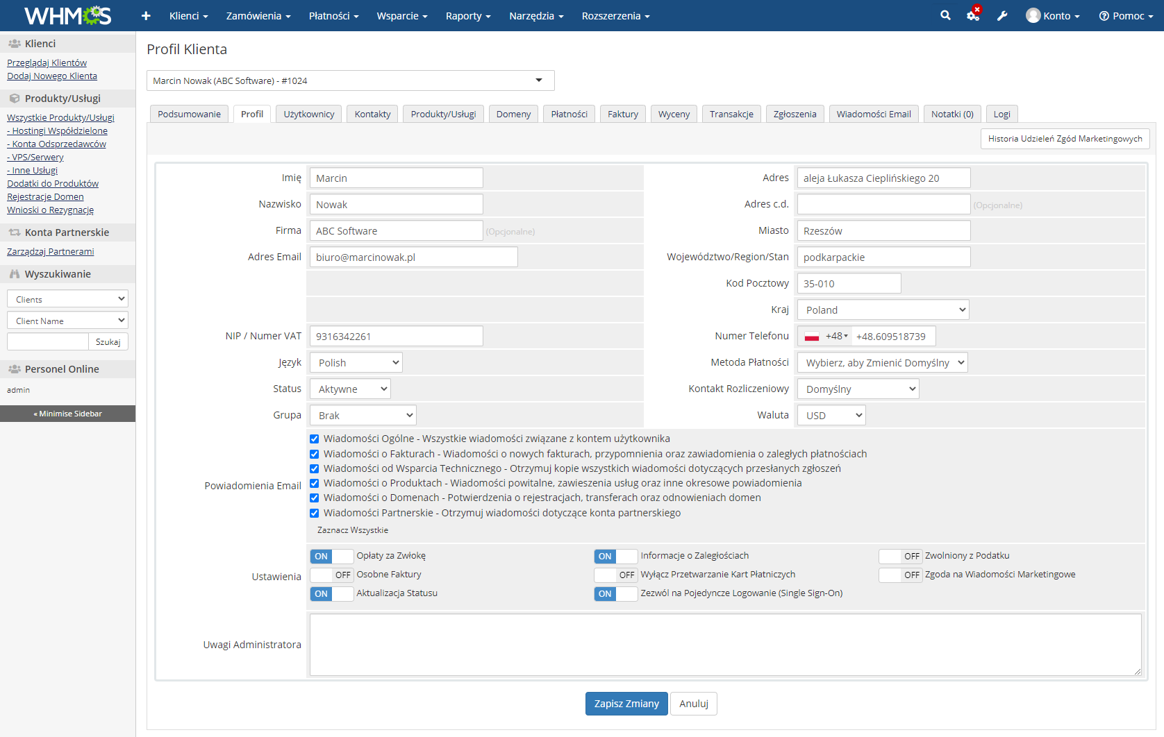 Polish Language Translation For WHMCS: Module Screenshot 19