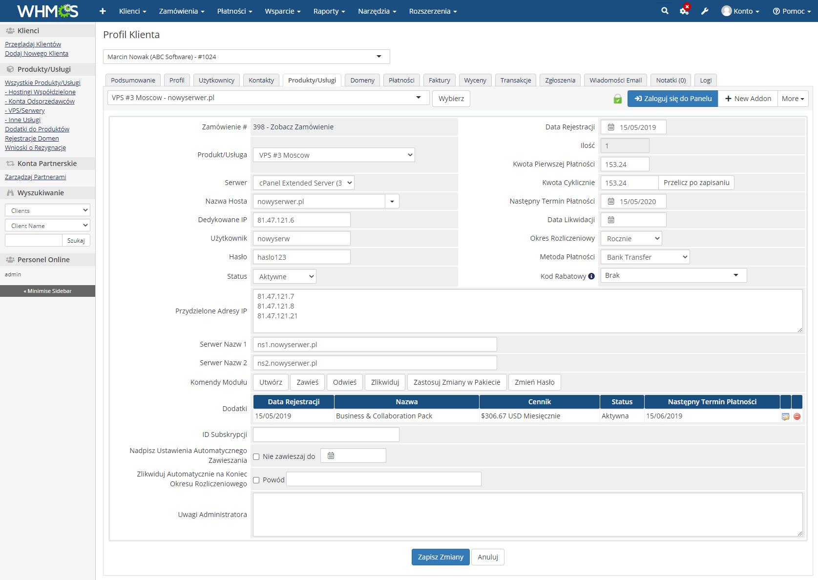 Polish Language Translation For WHMCS: Module Screenshot 20