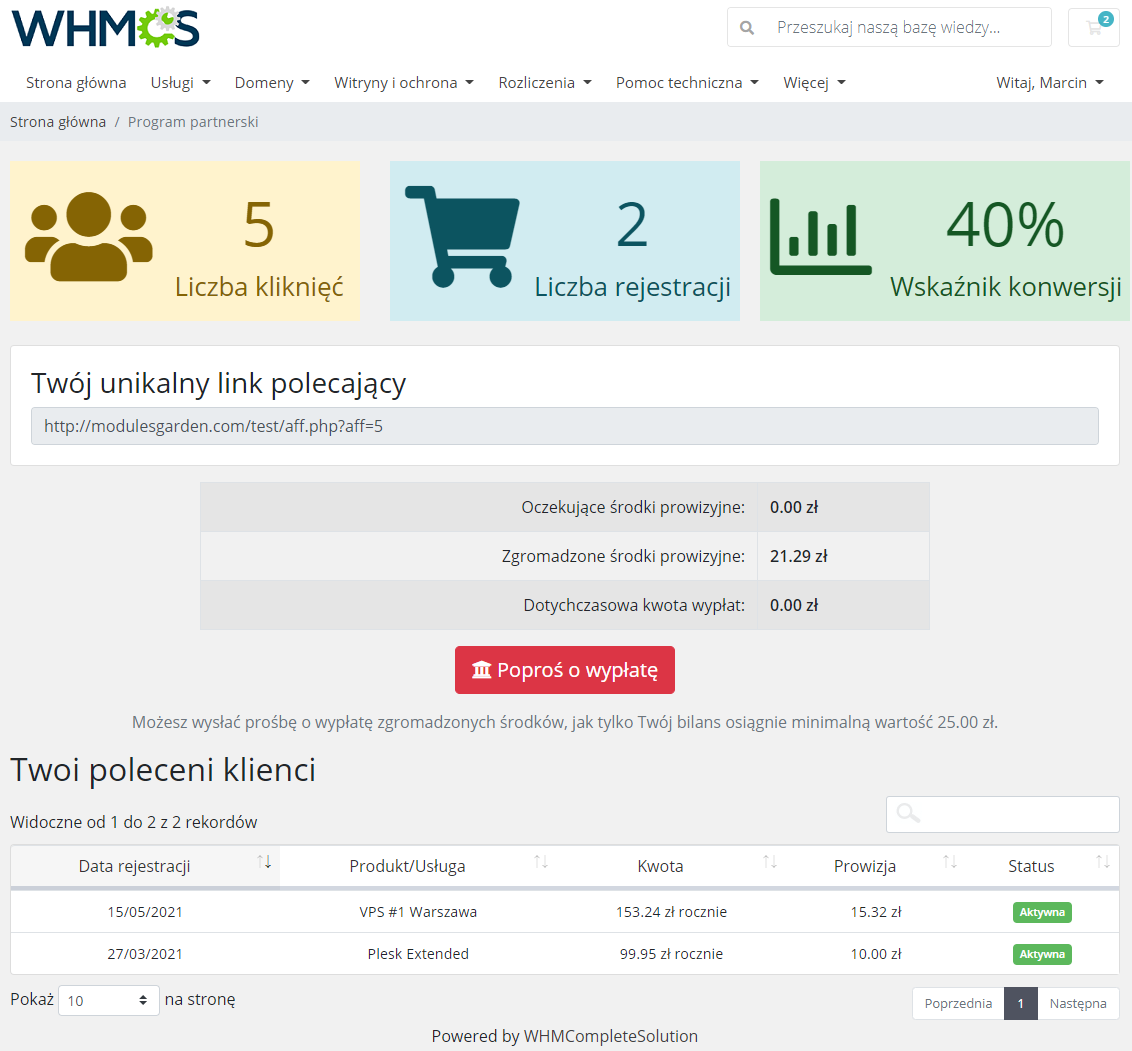 Polish Language Translation For WHMCS: Module Screenshot 14