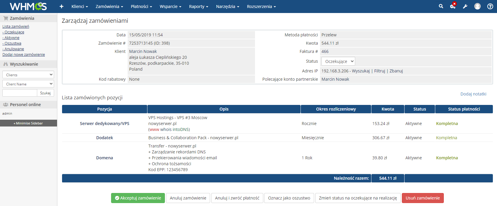 Polish Language Translation For WHMCS: Module Screenshot 23