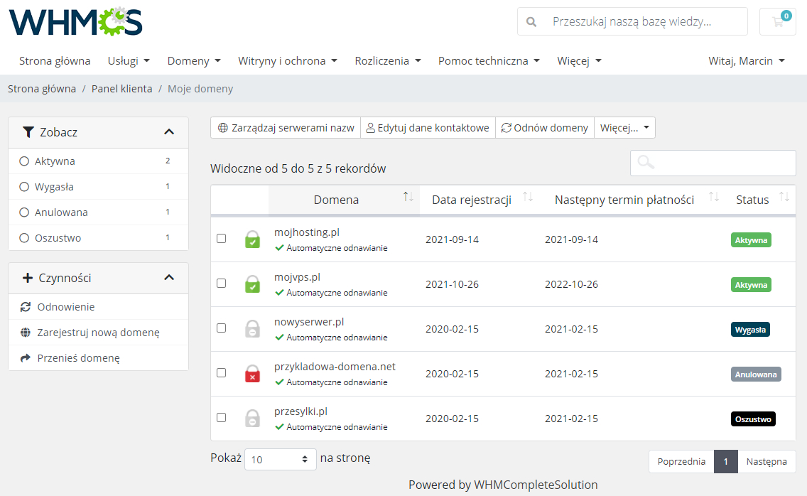 Polish Language Translation For WHMCS: Module Screenshot 5