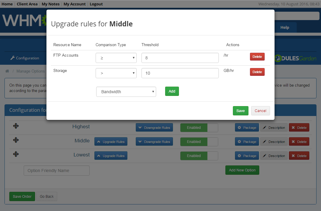 Product Auto Upgrade For WHMCS: Screen 9