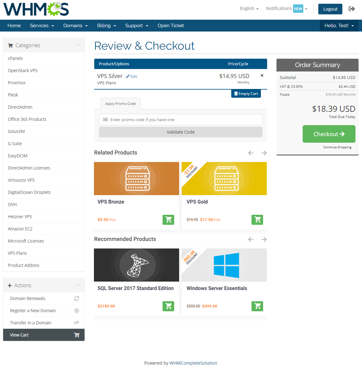 Product Cross-Selling For WHMCS: Module Screenshot 1