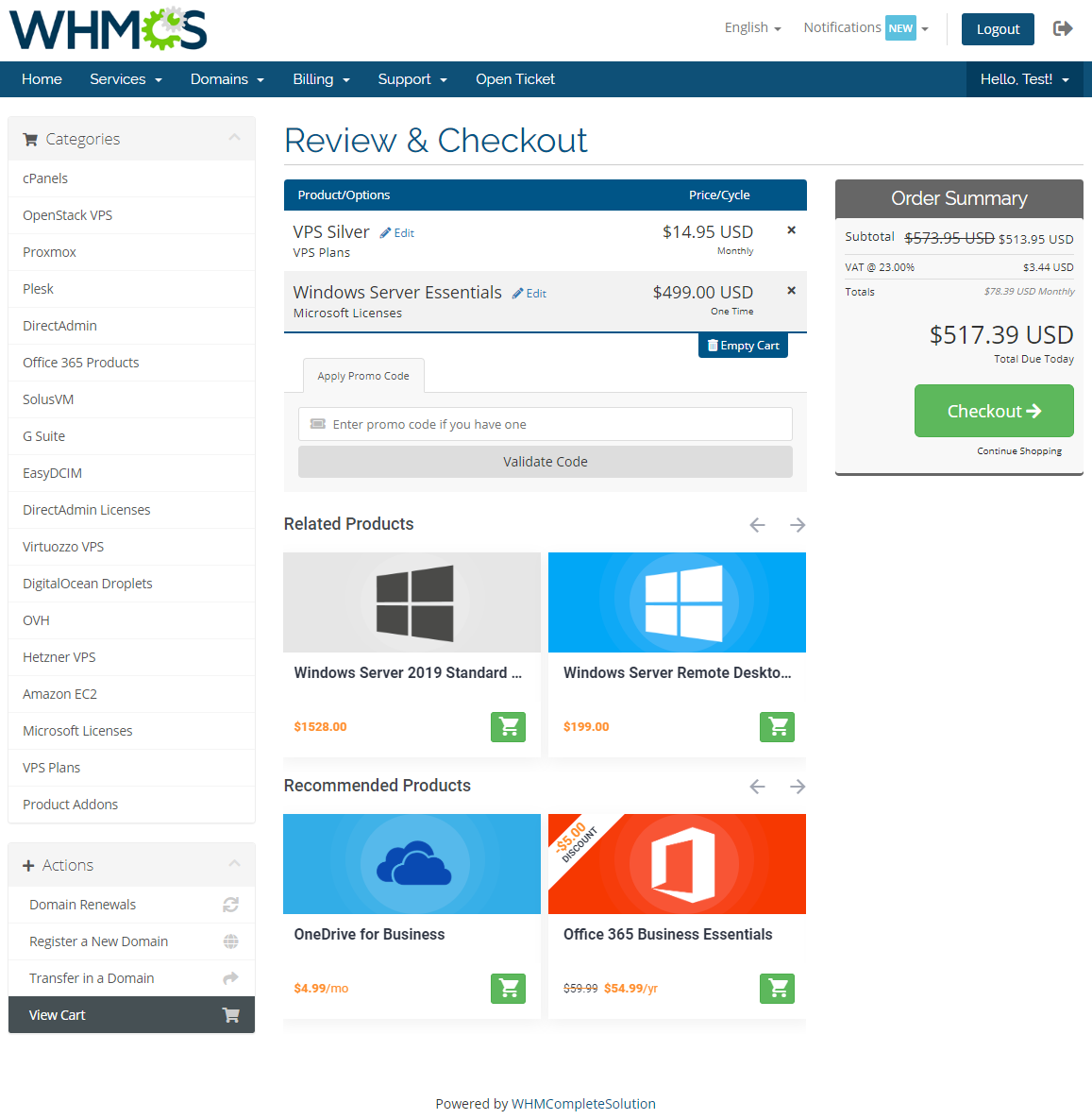 Product Cross-Selling For WHMCS: Module Screenshot 2