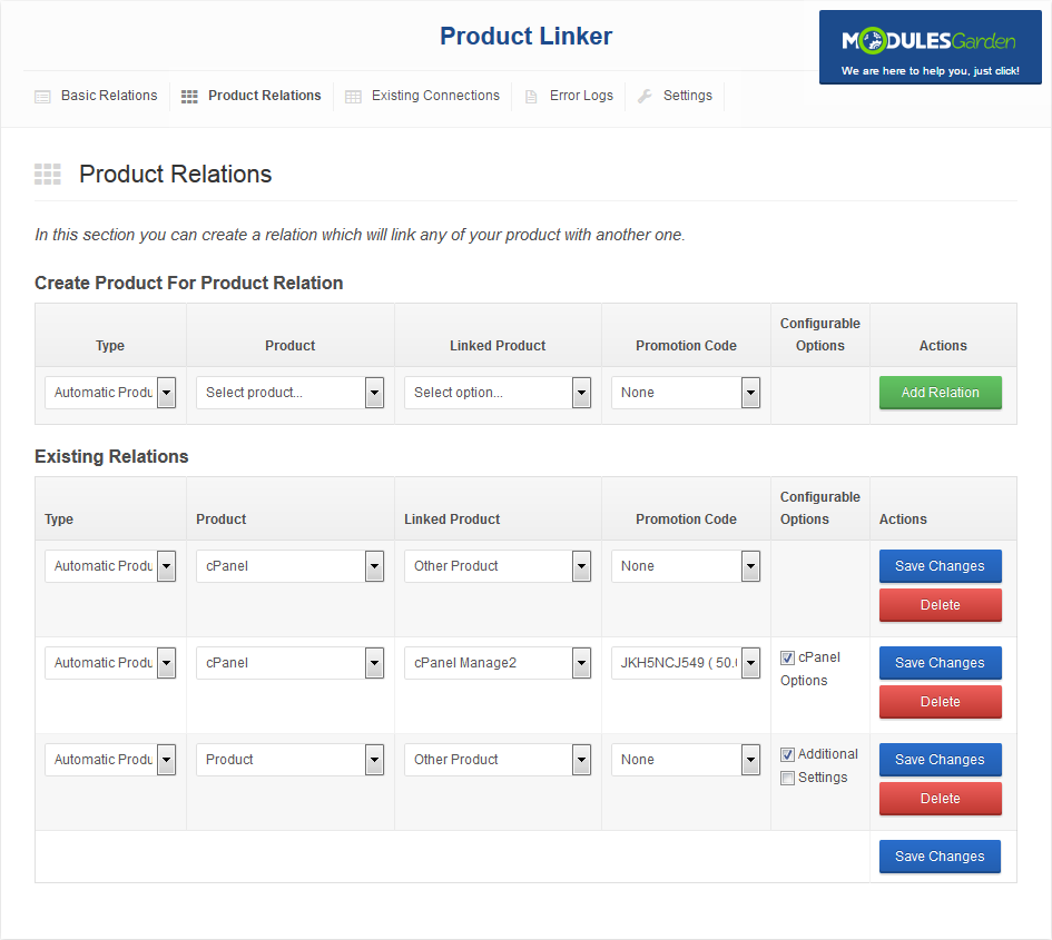 Product Linker For WHMCS: Screen 2