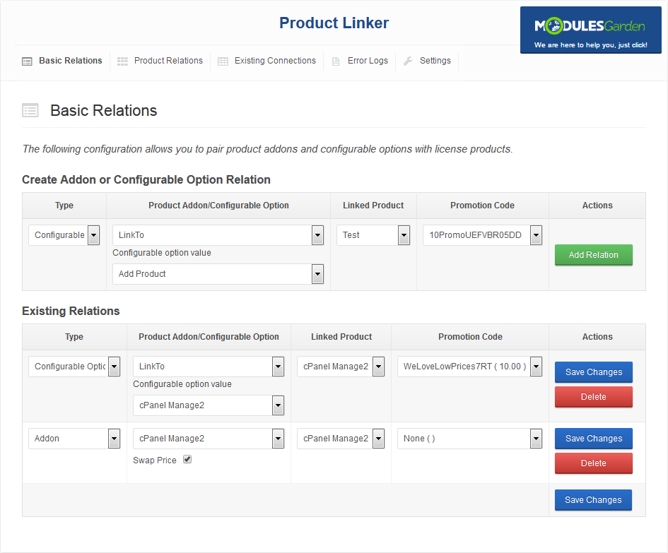 Product Linker For WHMCS: Screen 1