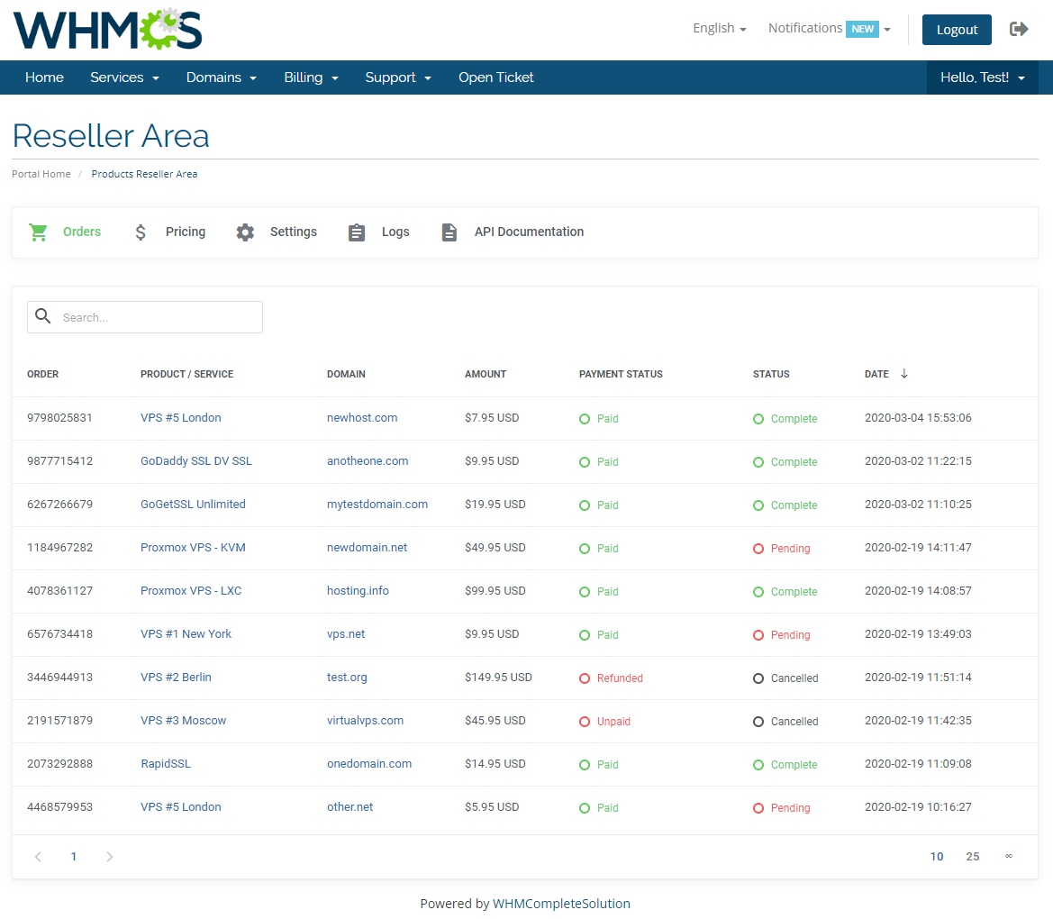 Products Reseller For WHMCS: Module Screenshot 18