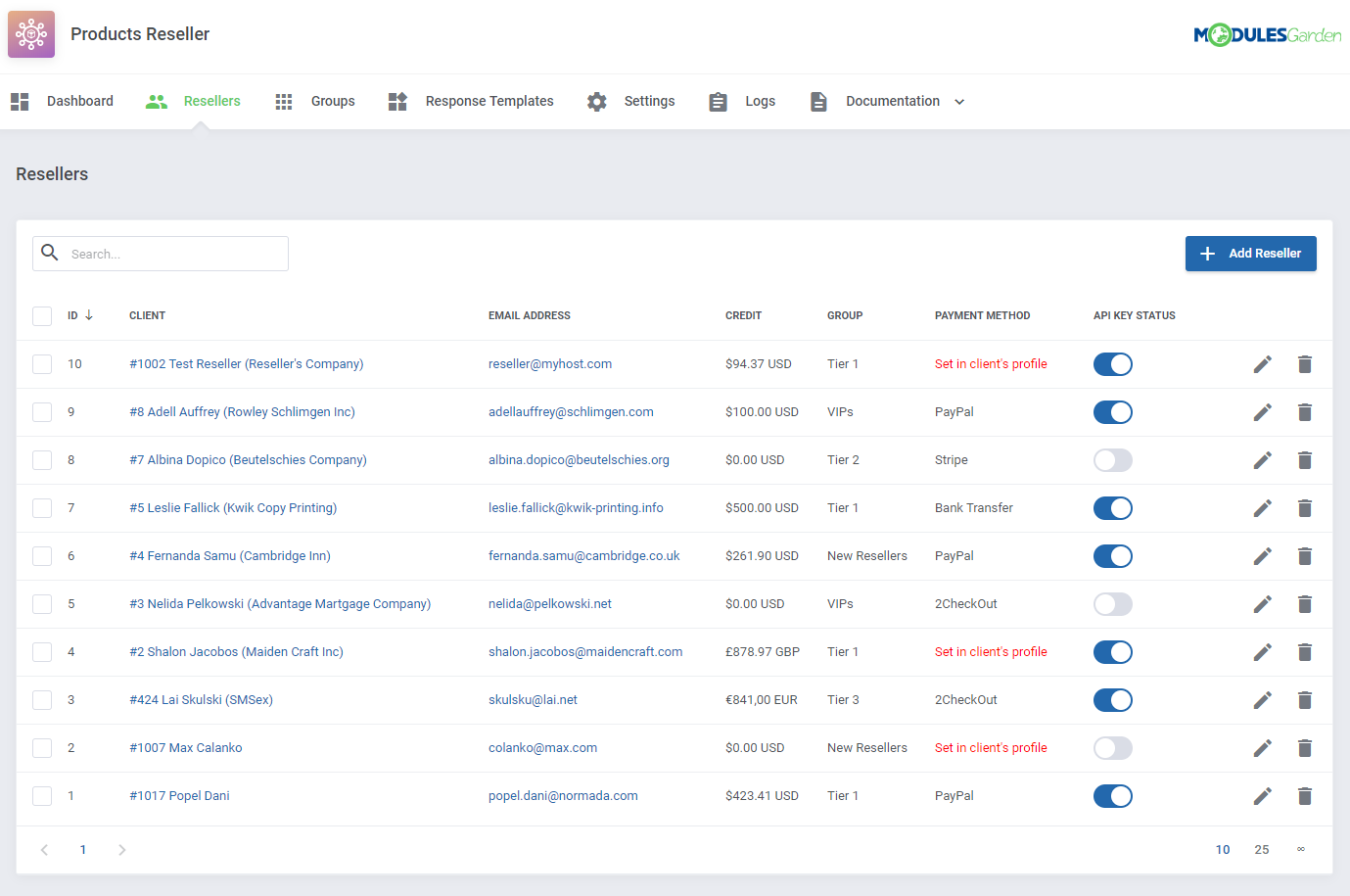 Products Reseller For WHMCS: Module Screenshot 2