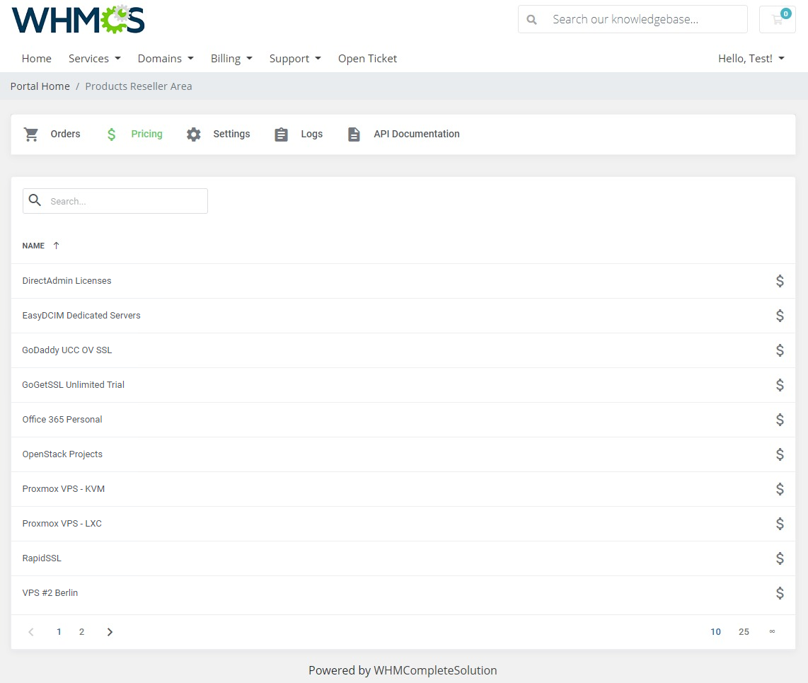Products Reseller For WHMCS: Module Screenshot 21