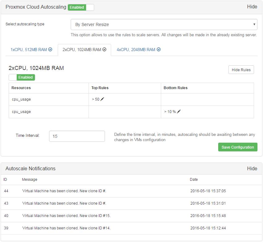 Proxmox Cloud Autoscaling For WHMCS: Screen 4