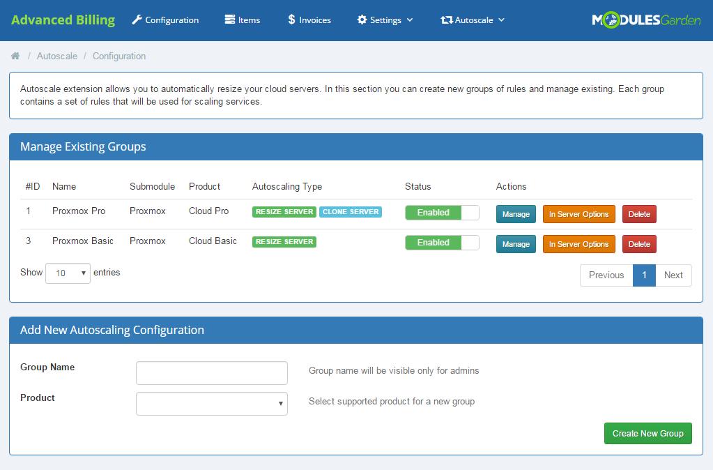 Proxmox Cloud Autoscaling For WHMCS: Screen 5