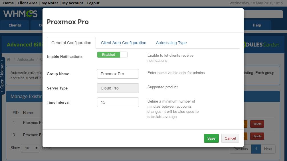 Proxmox Cloud Autoscaling For WHMCS: Screen 6