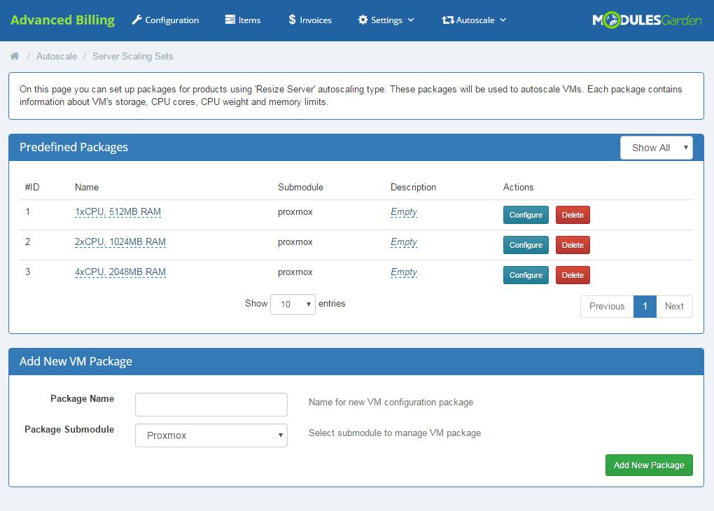 Proxmox Cloud Autoscaling For WHMCS: Screen 9